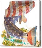 Redfish, White And Blue Canvas Print