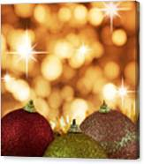 Red,yellow And Gold Cristmas Baubles Canvas Print