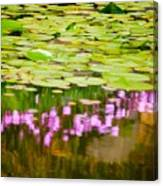 Reflected Flowers And Lilies Canvas Print