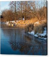 Reflecting In Threes - Three Trees By The Lake Canvas Print