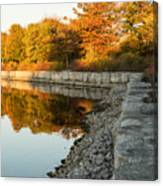 Reflecting On Autumn - Gray Rocks Highlighting The Foliage Brilliance Canvas Print