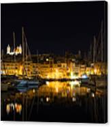 Reflecting On Malta - Senglea Golden Night Magic Canvas Print