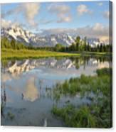 Reflection In Snake River At Grand Teton Canvas Print