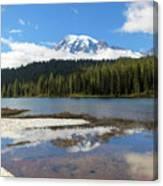 Reflection Lakes In Mount Rainier National Park Canvas Print