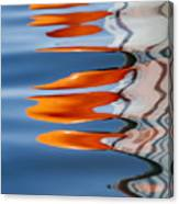Water Reflection Of Orange Blobs And Black Zig Zagging Lines Canvas Print