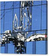 Reflection  Of Crane Canvas Print