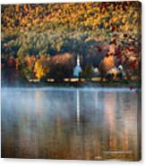 Reflection Of Little White Church With Fall Foliage Canvas Print