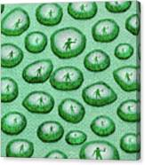 Reflection Of Waving Man In Water Droplets On Green Canvas Print