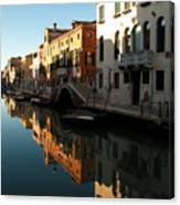 Reflection On The Cannaregio Canal In Venice Canvas Print