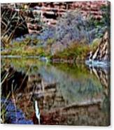 Reflections In Desert River Canyon Canvas Print