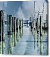 Reflections In The Marina Canvas Print