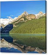 Reflections In The Water At Lake Louise, Canada Canvas Print