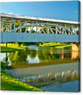 Reflections Of The Halls Mill Covered Bridge Canvas Print