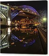Reflections Of Veterans Memorial Bridge  Canvas Print