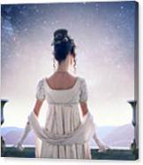 Regency Woman Looking At The Stars In The Night Sky  Canvas Print