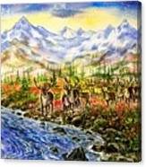 Reindeer Herd At The Watering Hole. Canvas Print