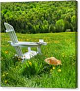 Relaxing On A Summer Chair In A Field Of Tall Grass  Canvas Print