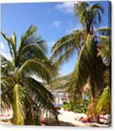 Relaxing On The Beach. Pinel Island Saint Martin Caribbean Canvas Print