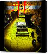 Relic Guitar Music Patriotic Usa Flag Canvas Print
