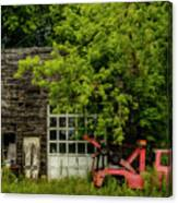 Remains Of An Old Tow Truck And Garage Canvas Print