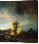 Rembrandt Landscape Paintings - The Stone Bridge Canvas Print