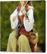 Renaissance Fiddler Lady Canvas Print