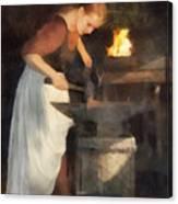 Renaissance Lady Blacksmith Canvas Print
