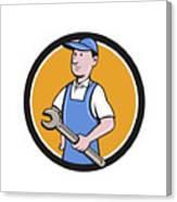 Repairman Holding Spanner Circle Cartoon  Canvas Print