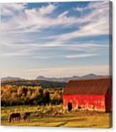 Red Barn Autumn Landscape Canvas Print