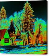 Residential Spokane In Cosmic Winter Canvas Print