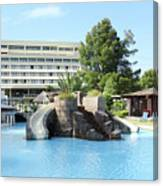 Resort With Swimming Pool Summer Vacation Scene Canvas Print