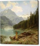 Resting By The Mountain Lake Canvas Print