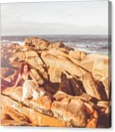 Resting On A Cliff Near The Ocean Canvas Print