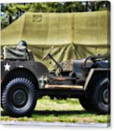 Restored Willys Jeep And Tent At Fort Miles Canvas Print