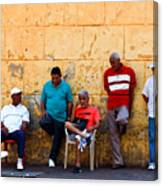 Retired Men And Yellow Wall Cartegena Canvas Print