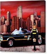 Retro Bat Woman Canvas Print
