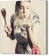 Retro Cooking Woman Giving Recipe Kiss Canvas Print