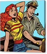 Retro Couple On Boat Comic Style Canvas Print