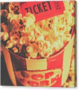 Retro Film Stub And Movie Popcorn Canvas Print