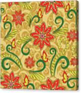 Retro Floral Seamless Pattern Canvas Print