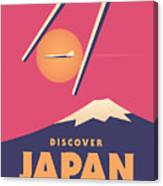 Retro Japan Mt Fuji Tourism - Magenta Canvas Print