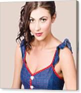 Retro Pin-up Girl In Blue Denim Dress Canvas Print