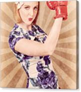 Retro Pinup Boxing Girl Fist Pumping Glove Hand  Canvas Print