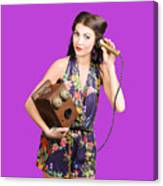 Retro Receptionist On Vintage Telephone. Call Us Canvas Print
