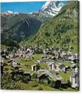 Retro Swiss Travel Zermatt And Mount Matterhorn  Canvas Print