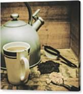 Retro Vintage Toned Tea Still Life In Crate Canvas Print