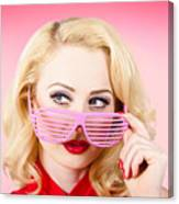 Retro Woman Model Wearing Summer Sun Glasses Canvas Print