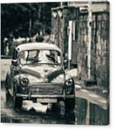 Retromobile. Morris Minor. Vintage Monochrome Canvas Print