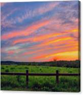 Retzer Nature Center - Summer Sunset Over Field And Fence Canvas Print