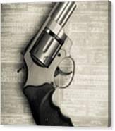 Revolver Pistol Gun Over Drawings Canvas Print